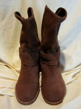 *SALE* WOMENS CROWN VINTAGE BROWN ANKLE SLOUCH SUEDE BOOTS BOOTIES 8 M #S6