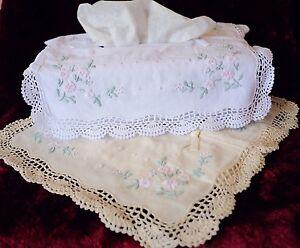 Vintage Handmade Crochet Lace Flower Emb 100%Cotton Tissue Box Cover White/Ivory