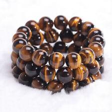 Fashion Men Woman Natural Tiger Eye Stone Lucky Bless Beads Bracelets 6/8/10MM