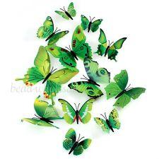 12Pcs 3D Butterfly Wall Stickers Room Decoration / Fridge Decor Green