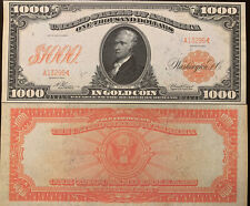Reproduction $1000 Bill 1907 Gold Certificate Hamilton USA Currency Copy