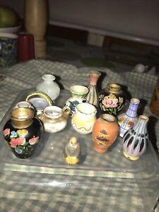 Dolls House 14 Miniature Vases Aged
