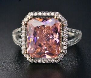 Natural Pink Spinel Gemstone Ring 925 sterling Silver Wedding Engagement Jewelry