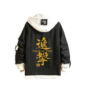New Black Jeans Jacket Anime Attack On Titan Denim Coats Cosplay Costume Outwear