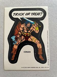 1974 1975 TOPPS MARVEL SUPER HEROES STICKERS - CONAN - TRICK OR TREAT!
