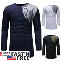 US Men's Autumn Winter Luxury African Print Long Sleeve Dashiki Shirt Top Blouse