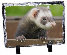 Cute Ferret 'Love You Mum' Photo Slate Christmas Gift Ornament, FER-2lymSL