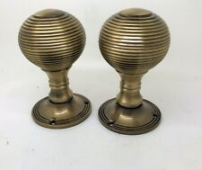 "ANTIQUE BRONZE BRASS 2"" REED RIMMED RIBBED QUEEN ANNE BEEHIVE MORTICE KNOB SET"
