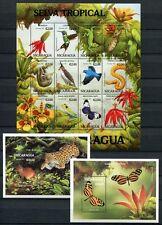Nicaragua 1994 animales pájaros mariposas serpiente 3236-47 bloque 208-209 mnh
