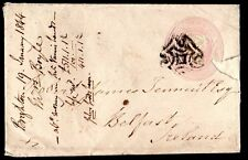 UK IRELAND 1844 BRIGHTON TO BELFAST ON ONE PENNY COVER W/MALTESE CROSS CANCEL