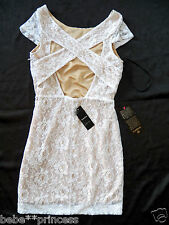 NWT bebe white beige cross cutout back lace skirt top sexy dress L 10 Large club