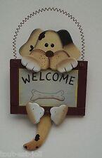 chien en bois marqué WELCOME pour porte,décoration, hond, dog,collection **S13
