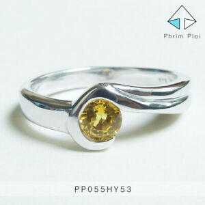 Thai Handmade 100% Natural Yellow Sapphire Gem with 925 Silver Ring PP055HY53