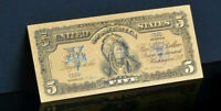 ✓☆ AMAZING ☆✓《1899 SILVER CERTIFICATE》 INDIAN CHIEF  $5 Rep.*GOLD Banknote - ☆✓