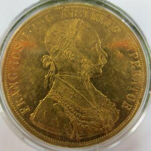 Antique Austrian 4 Ducat Gold Coin 1907
