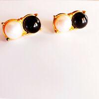 Crown Trifari Dual Faux Pearl Earrings Black & White Gold Tone Pierced Ears VTG