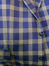 Ungaro Pour I'homme Sakko 100% Wolle blau gelb Gr 56