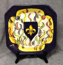 Mardi Gras Fleur de Lis Ceramic serving Plate by Tara Collections FREE SHIPPING!