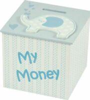 MY MONEY BOX PIGGY BANK BOX ELEPHANT BLUE wooden new baby shower boy girl gift