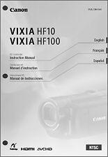 Canon VIXIA HF10, Hf100 Camcorder User Instruction Guide  Manual