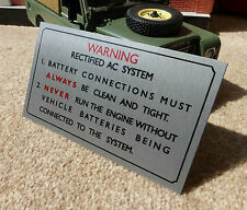 Land Rover Series 101 Military Defender Bulkhead AC Warning Information Plate