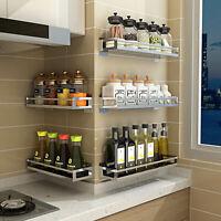 Wall Mounted Stainless Steel Kitchen Spice Storage Holder Seasoning Shelf Holder