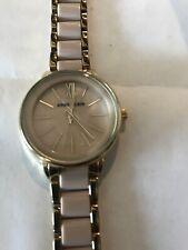 Anne Klein Women's Quartz Gold Tone/White Pink Resin Watch AK/1412IVGB
