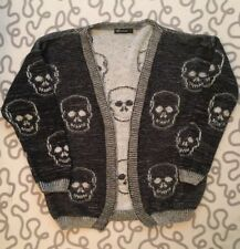 Skull Goth Emo Embroidered Cardigan Ladies Size L 14-16 Black Grey