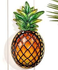 "18"" Pineapple Stained Glass Design Wall Plaque - Glass & Iron"