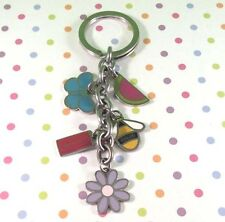 NEW Coach Enamel Butterfly Bee Flower Melon Mix Purse Charm Key Ring Chain