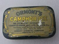 Antique Vintage ORMONT'S CAMPHOR ICE Remedy Advertising Tin Brooklyn NY