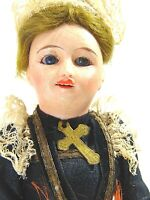 """FRENCH BISQUE DOLL ANTIQUE MINIATURE DRESSED COMPOSTION BODY O MOUTH TEETH 7"""""""