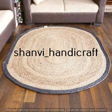 Bohemian Braided Oval Rugs Jute 5x8 Feet Floor Rag Rug Handmade Natural Jute Rug