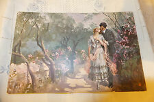 Antique postcards 1918 Lovers Italian art Chromo lithograph Riservata Milano