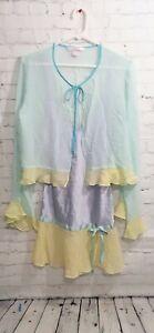VTG Victora Secret 100% Silk Gown Jacket Pastel SZ S/M Fairy Kei Chemise Babydol