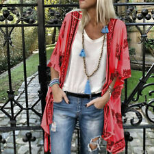 Womens Floral Casual Short Sleeve Loose Shawl Kimono Cardigan Tops Shirt Blouse