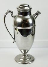 """Large Chrome Metal Cocktail Drink Shaker With Handle And Closed Spout 12"""" Tall"""