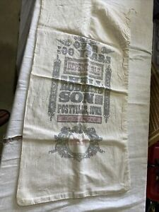 "Vintage Cloth Timothy Seed Sack Or Bag Hall Roberts' Son Postville, Iowa 15x29"""