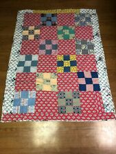 vintage cotton thick patchwork lap quilt with french fancy poodle dogs