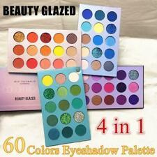 60 COLORS- BEAUTY GLAZED Glitter Eyeshadow Palette Pigment Shimmer Metalic U6R3