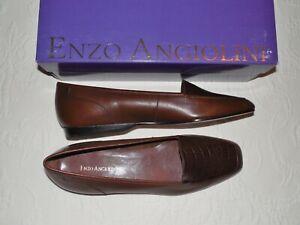 ENZO ANGIOLINI Liberty Dark Cognac Leather Flats 8.5 N - NIB