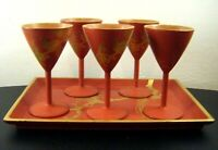 Vintage Chinese LACQUER Tray & 5 Goblets ~ Red / Gold Bird