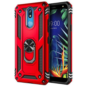 For LG Neon Plus (AT&T) Phone Case Magnetic Ring Kickstand Cover+Tempered Glass