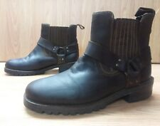 Brown Leather Ankle Boots - Metal Ring - Elastic/Leather Ankles - Men's Size: 8