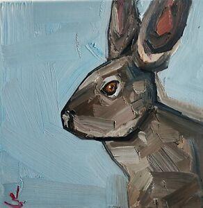 HARE OIL PAINTING BY ARTIST VIVEK MANDALIA IMPRESSIONIST ANIMAL ART 12 X 12