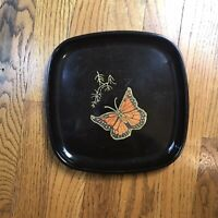 Vintage Couroc Monterey Monarch Butterfly Tray Brass Wood Inlay 8.5 X 8.5 Inches