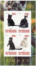 Burundi - Cats - 4 Stamp Sheet - 2J-092
