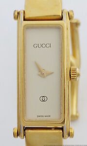 Vintage Gucci Horsebit Clasp Ladies Gold Plated Working Cuff Wrist Watch