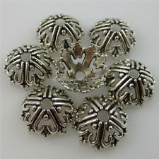 12260 25PCS Antique Silver Tone Alloy 14mm Frame Heart Spacer Bead End Caps