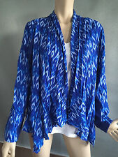 Womens Sz 14 Autograph Soft Blue & Print 3/4 Sleeve Drape Jacket